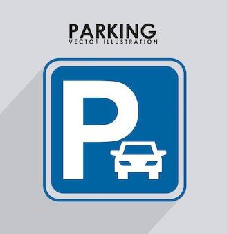 Señal de estacionamiento sobre ilustración de vector de fondo de rayos