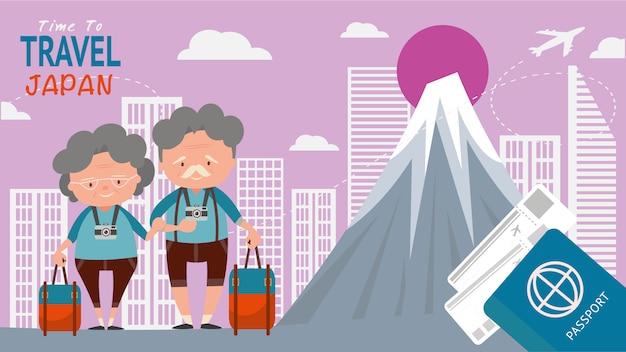 Señal famosa por las vistas arquitectónicas del viaje. los turistas mayores de los pares viajan japón en el mundo la hora de viajar concepto.