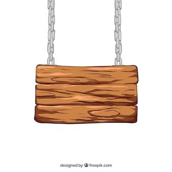 Señal de madera que cuelga en una cadena