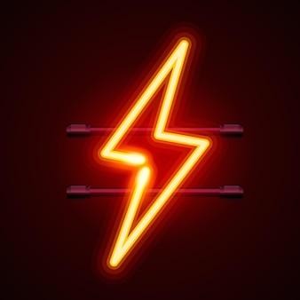Señal de neón de un rayo sobre fondo rojo. ilustración vectorial