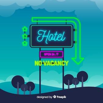 Señal neón realista de hotel