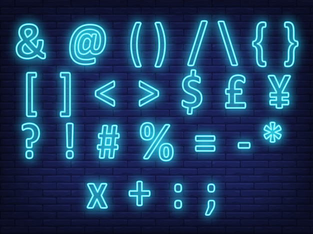 Señal de neón de símbolos de texto azul brillante