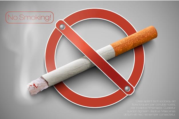 Señal de no fumar con un cigarrillo realista sobre un fondo vintage