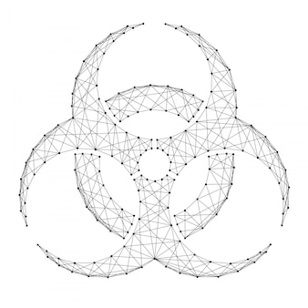 Señal de peligro biológico de puntos y líneas negras poligonales futuristas abstractos.