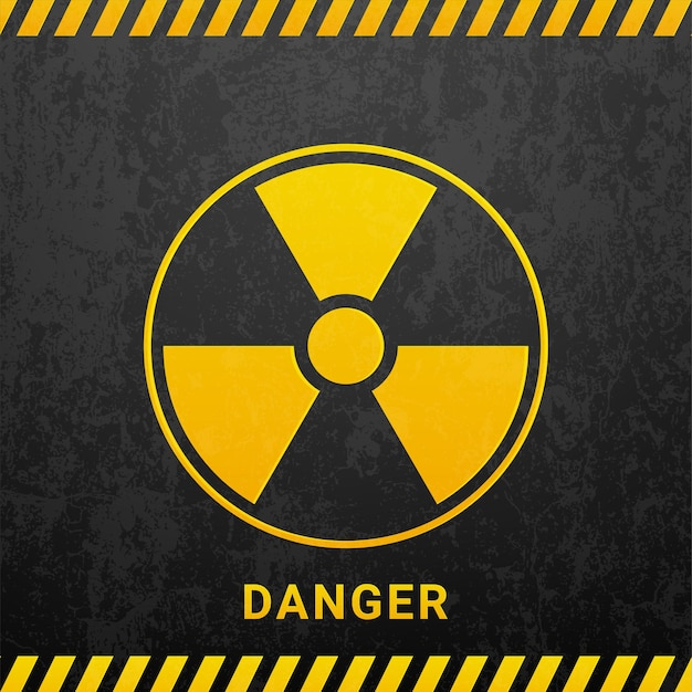 Señal de peligro de radiación negra aislada