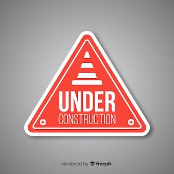 Señal plana roja en construcción