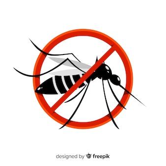 Señal de precaución con mosquitos con diseño plano