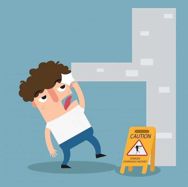 Señal de precaución peligro peligro por encima de la cabeza