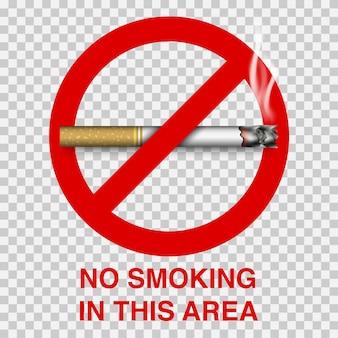 Señal de prohibido fumar con cigarrillo