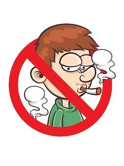 Señal de prohibido fumar - ilustración de personaje de dibujos animados