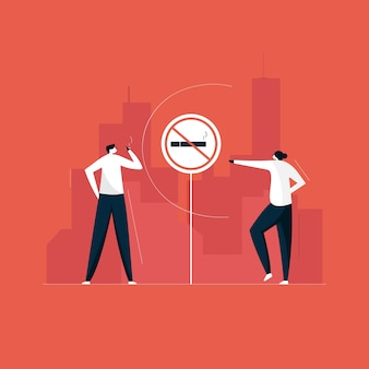 Señal de prohibido fumar, zona de no fumadores y concepto de problema social