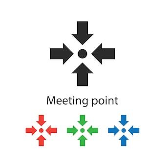 Señal de punto de reunión de evacuación de emergencia sobre fondo blanco con diff
