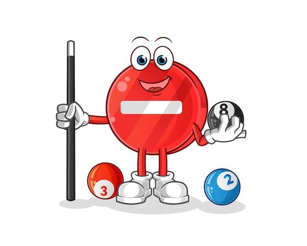 Señal de stop juega billar ilustración
