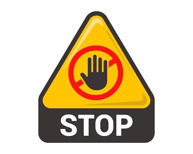 Señal de stop. la mano se detiene. ilustración vectorial plana.