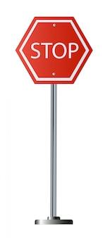 Señal de stop roja, señalización de advertencia reglamentaria de tráfico aislada octágono, marco octogonal blanco,