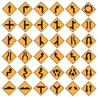 Señal de tráfico amarilla dirección negro conjunto