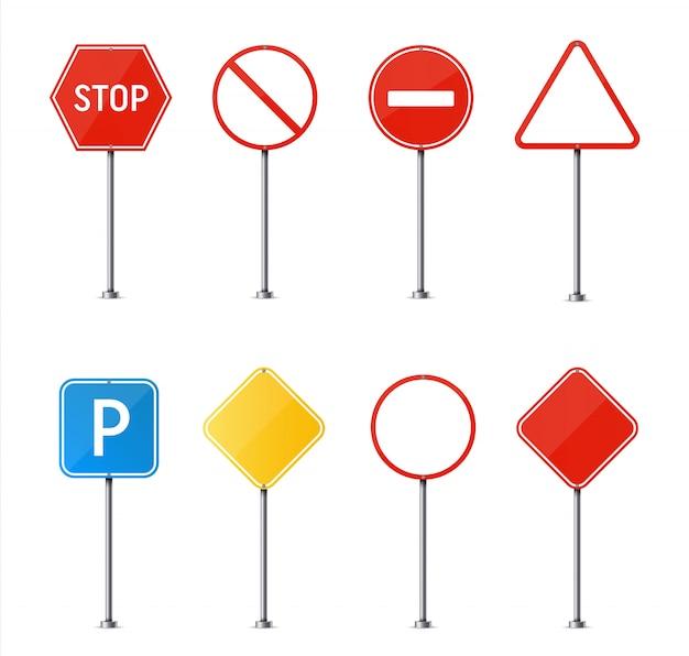Señal de tráfico. plato de tráfico de carretera en blanco.