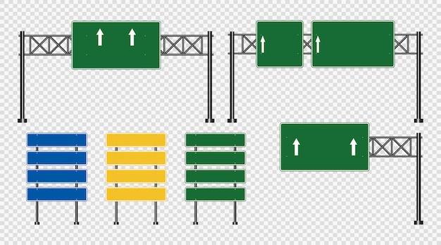 Señal de tráfico, señales de tablero de carretera aisladas en transparente
