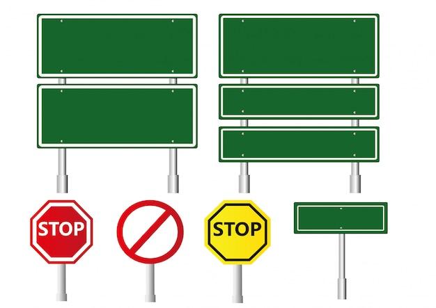 Señal de tráfico verde en blanco