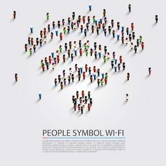 Señal de wifi de personas conecta isométrica. ilustración vectorial
