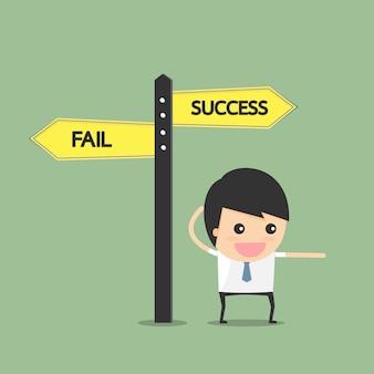 Señale el camino hacia el éxito. concepto de empresario