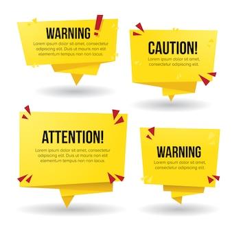 Señales de advertencia en banner de estilo papel amarillo
