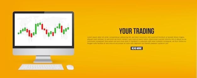 Señales de diagrama de comercio de divisas, banner de indicadores de venta