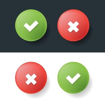 Señales de garrapata y cruz 3d colores verde y rojo. ilustración vectorial.