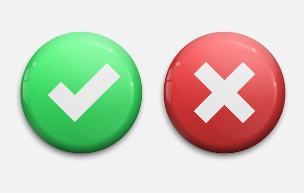 Señales de garrapatas y cruces. marca de verificación verde ok e iconos x rojos