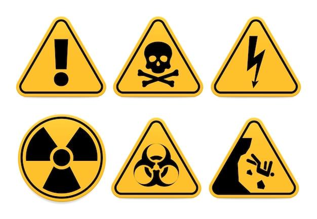 Señales de peligro. símbolo de seguridad, icono de alerta y precaución aislada, peligro e ilustración vectorial peligrosa. botón de advertencia de exclamación