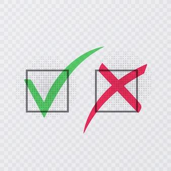 Señales de tick y cross. marca de verificación verde ok e iconos x rojos