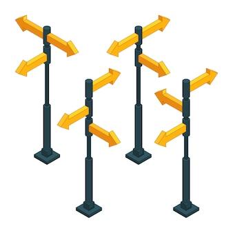 Señales de tráfico flechas de dirección en la encrucijada.