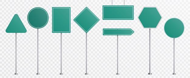 Señales de tráfico realistas. conjunto de plantillas de señales de dirección de carretera de placa verde