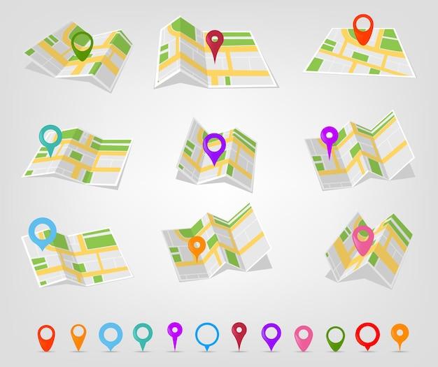 Señales de ubicación en diferentes colores con un mapa.