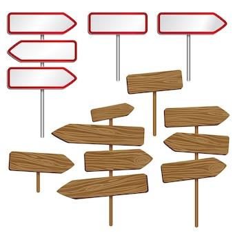 Señales viales de madera y metal.