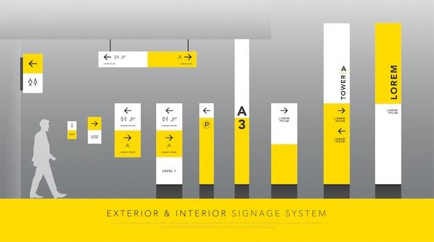 Señalización exterior e interior y señalización de tráfico.
