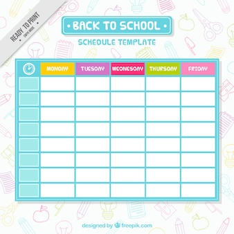 Sencilla plantilla de horario escolar
