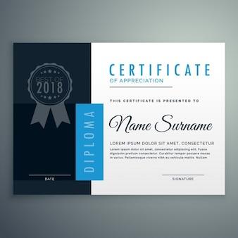 Sencillo certificado azul