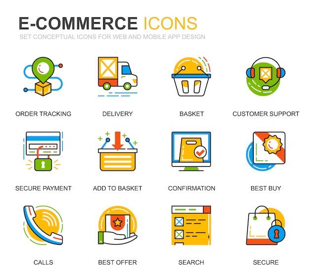 Sencillo conjunto de iconos de línea de comercio electrónico y compras para sitio web
