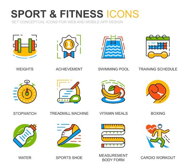 Sencillo conjunto de iconos de línea de deporte y fitness para sitio web