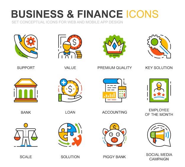 Sencillo conjunto de iconos de línea de negocios y finanzas para sitio web
