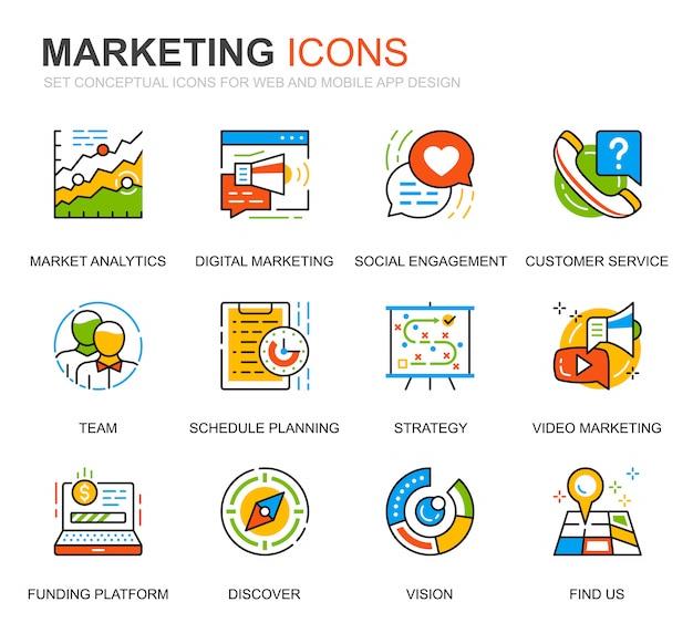 Sencillo conjunto de iconos de línea de negocios y marketing para el sitio web