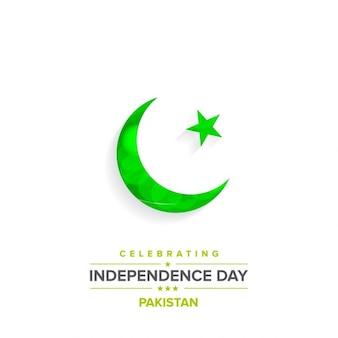Sencillo fondo con una luna verde brilante del día de independencia de pakistán