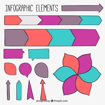 Sencillos elementos infográficos de colores dibujados a mano