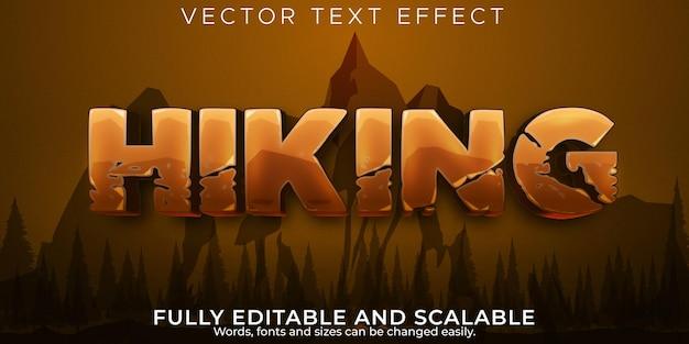 Senderismo aventura efecto de texto estilo de texto de montaña y trekking editable