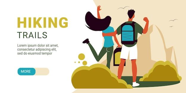 Senderismo banner horizontal con pareja de viajeros abrazando paisaje al aire libre y texto editable con deslizador más ilustración de botón