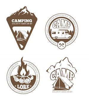 Senderismo y camping etiquetas retro, emblemas, logotipos, insignias