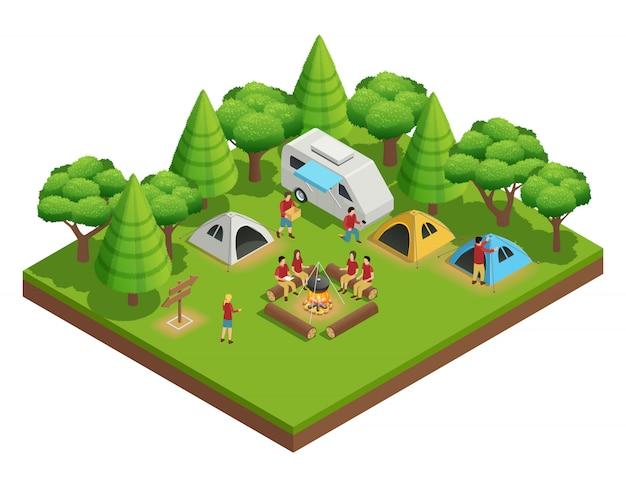 Senderismo composición isométrica con un grupo de personas que acamparon en el bosque y se sientan alrededor del campamento.