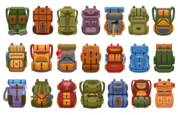 Senderismo mochila de dibujos animados conjunto de iconos. mochila de ilustración sobre fondo blanco. conjunto de dibujos animados icono mochila de senderismo.