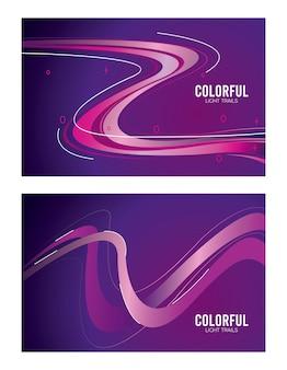 Sendero de luz colorida en diseño de ilustración púrpura